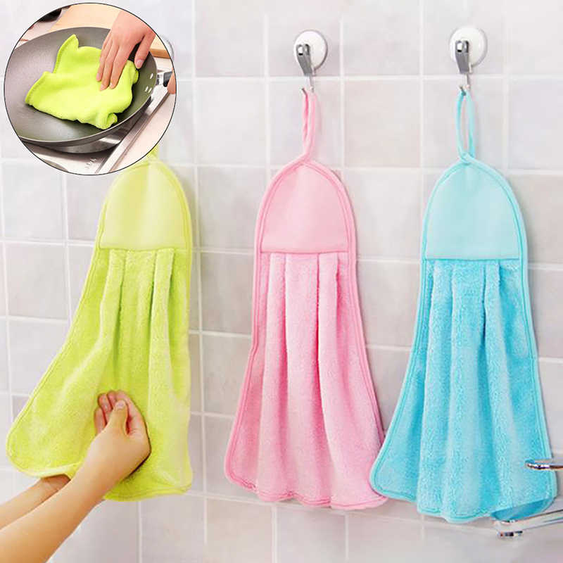 Hand Quick-dry Towel Plush Nursery Hanging Kitchen Bathroom Thick Soft Cloth Wipe Towel Cotton Non-oil-Stick Dish Washing