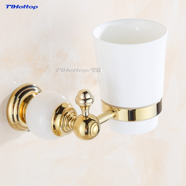 Tlhottop Single Jade Green Stone Golden Cup Tumbler Holder Brass Wall Mounted Toothbrush Bathroom Accessories Cup Holder YJ 8164 image