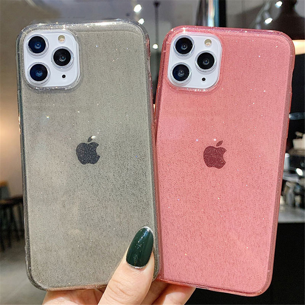 Heb31a722d1cd40318d144d7ec6f443efL - Moskado Bling Glitter Transparent Phone Cases For iPhone 11 11Pro Max X XR XS Max 7 8 6 6s Plus Clear Solid Soft TPU Back Cover