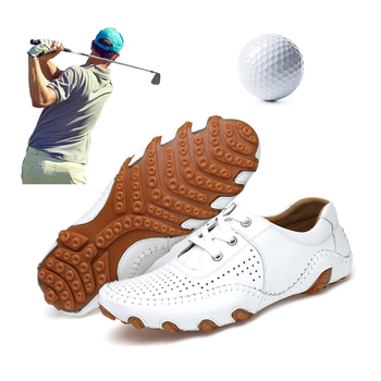 Leather Men Golf Shoes Classic Style Outdoor Golf Training Sneakers Plus Size 38-47 Mens Golf Trainers Leather Shoes Black White