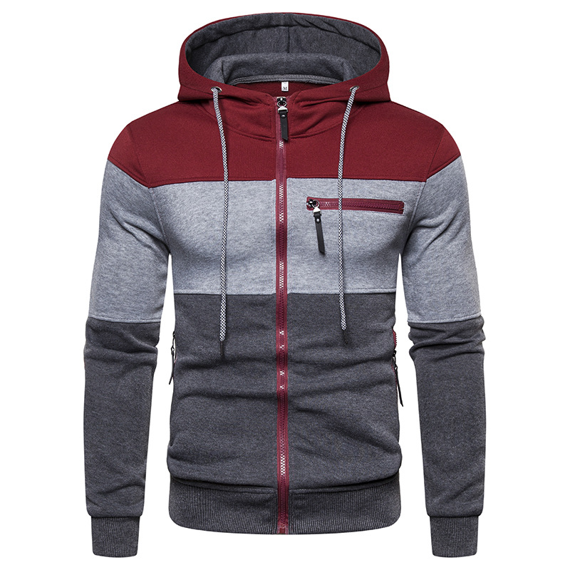 NEGIZBER Men's Sweatshirts Fashion Patchwork Slim Fit Hoody Men Clothing Casual Zipper Design Hoodies Streetwear