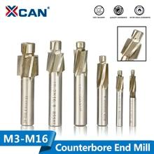 XCAN 1Pc 4 ขลุ่ยHSS Counterbore End Mill M3.2 M16.5 Pilot Slotting Toolเครื่องตัดไม้/เจาะโลหะcounterbore Mill