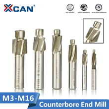 XCAN 1pc 4 Flute HSS Counterbore End Mill M3.2 M16.5 Pilot Slotting Tool Milling Cutter for Wood/Metal Drilling Counterbore Mill