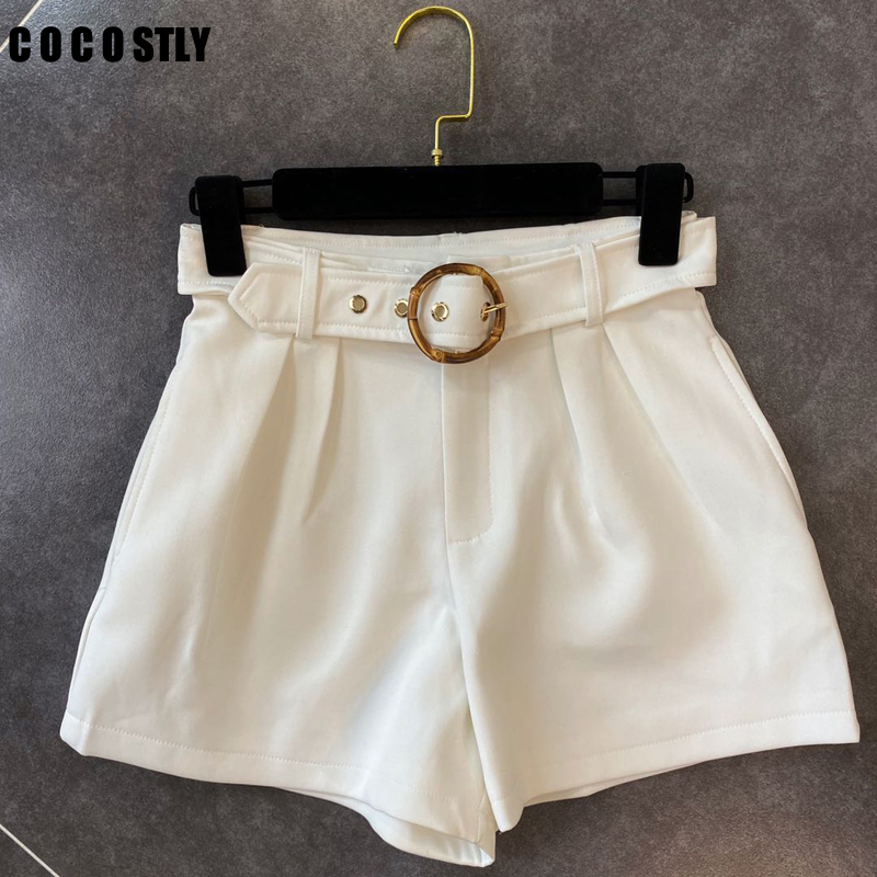 Woman Shorts With Belt Ladies Fashion Streetwear Solid High Waist Loose Shorts Female Plus Pocket Bottom
