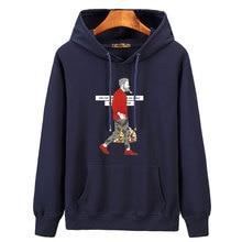 letters cartoon anime printed Oversized velvet long sleeve hoodie men pure cotton hooded solid sweatshirts warm mens streatwear