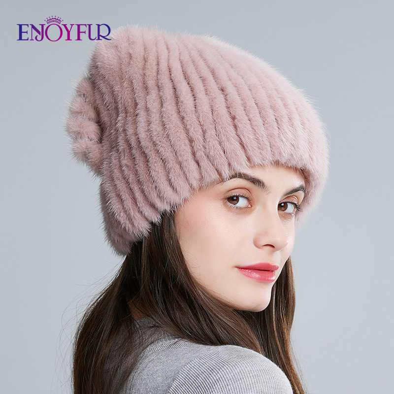 ENJOYFUR Women Knitted Mink Fur Hats For Winter Female Real Mink Fur Warm Caps Fashion Bowknot Fur Bonnets
