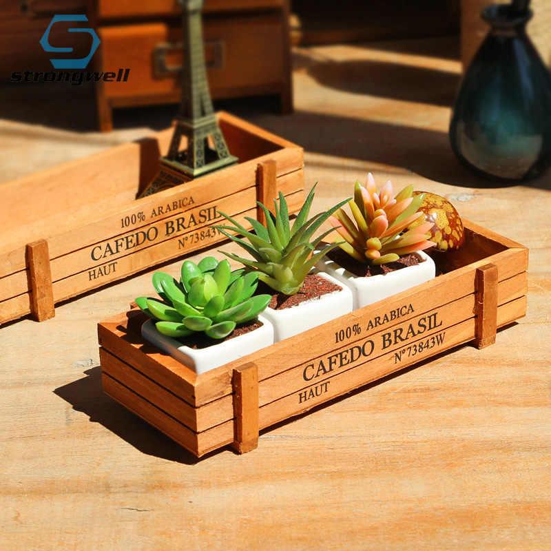 Strongwell antyczny drewniany stół rozmaitości pojemnik Organizer na kosmetyki pudełko do przechowywania biżuterii Home Decor drewniana biżuteria Holder