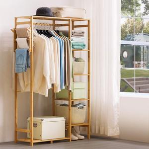 Bamboo Wood Garment Rack 6 Tier Storage Shelves Clothes Hanging Rack with Side Hook Duty Clothing Rack Wardrobe Closet Organizer(China)