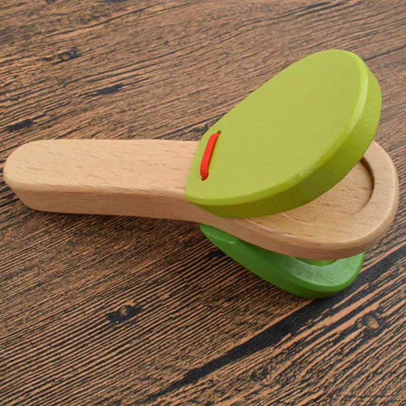 1 pc de madeira percussão lidar com bater palmas castanetas placa para o bebê instrumento musical pré-escolar cedo brinquedos educativos
