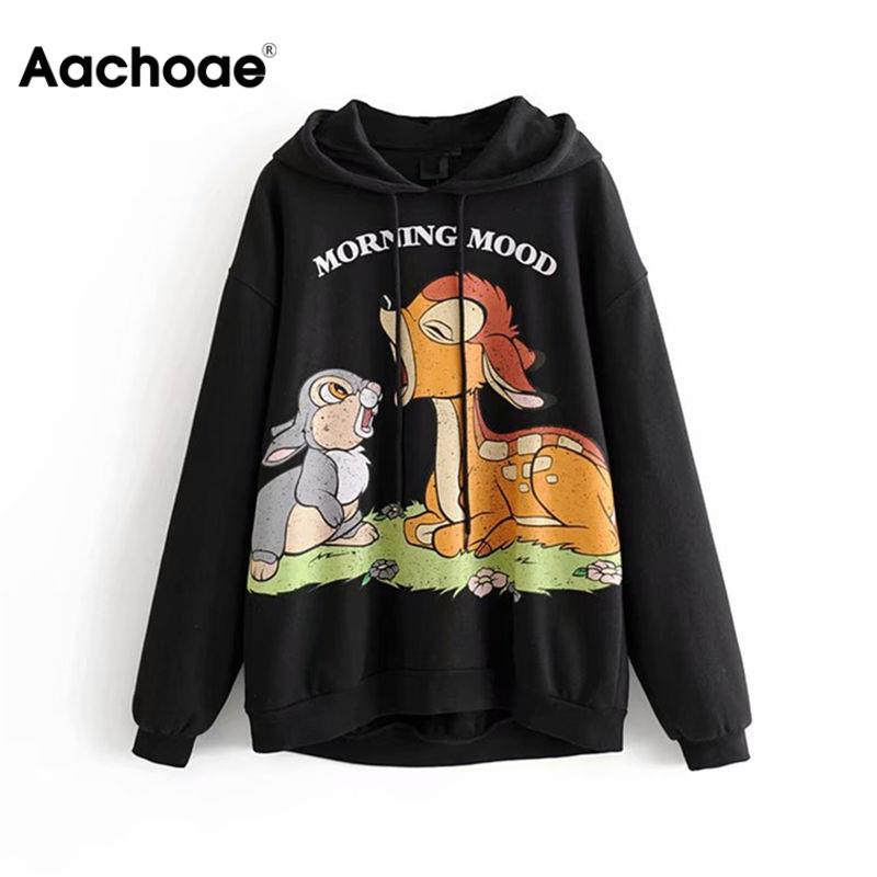 Aachoae Cartoon Hoodie Women Spring Long Sleeve Hooded Sweatshirt Harajuku Casual Hoodies Loose Funny Female Pullover