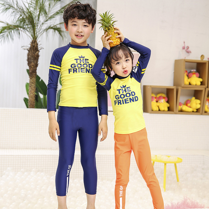 2018 South Korea New Style Medium-small Children Big Kid Bathing Suit Men And Women Children Long Sleeve Sun-resistant Two-piece