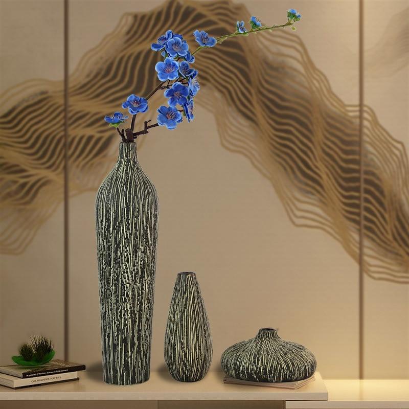 >Chinese <font><b>Zen</b></font> Vintage Ceramic Vase Living Room Modern <font><b>Minimalist</b></font> Home Decoration Ornaments TV Cabinet Furnishings