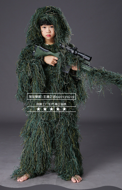 Children Kids Hunting clothes 3D maple leaf Bionic Ghillie Suits Yowie sniper Camouflage Suit birdwatch airsoft Camouflage Set 4