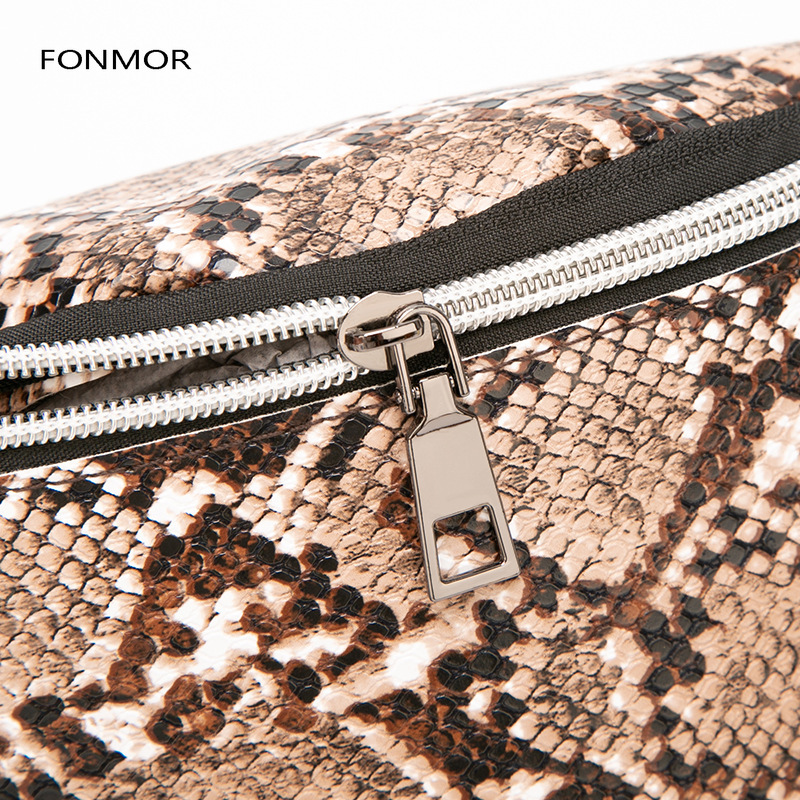 Women Waist Pack Serpentine Fanny Pack Pu Leather Chest Bag Female Fashion Snake Skin Belt Bag High Quality Female Purse in Waist Packs from Luggage Bags