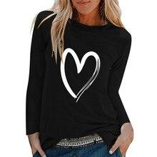 Зимняя женская Повседневная футболка с принтом, круглый вырез, длинный рукав, свободная футболка, 3xl, базовая одежда, Camisas De Moda Mujer