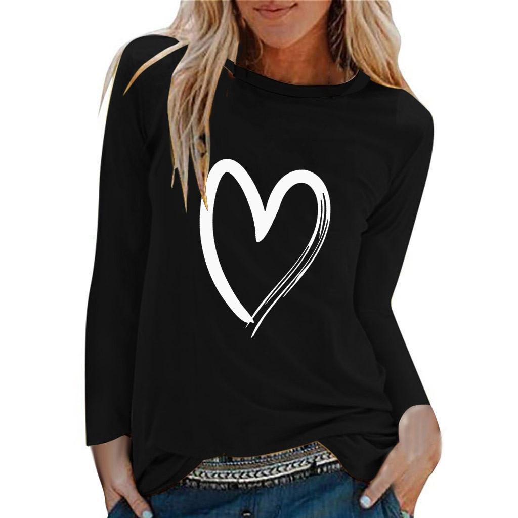 Winter Tshirt Womens Casual Print Shirts O-neck Long Sleeve Top Loose T-shirt 3xl Basic Clothing Camisas De Moda Mujer 2020(China)