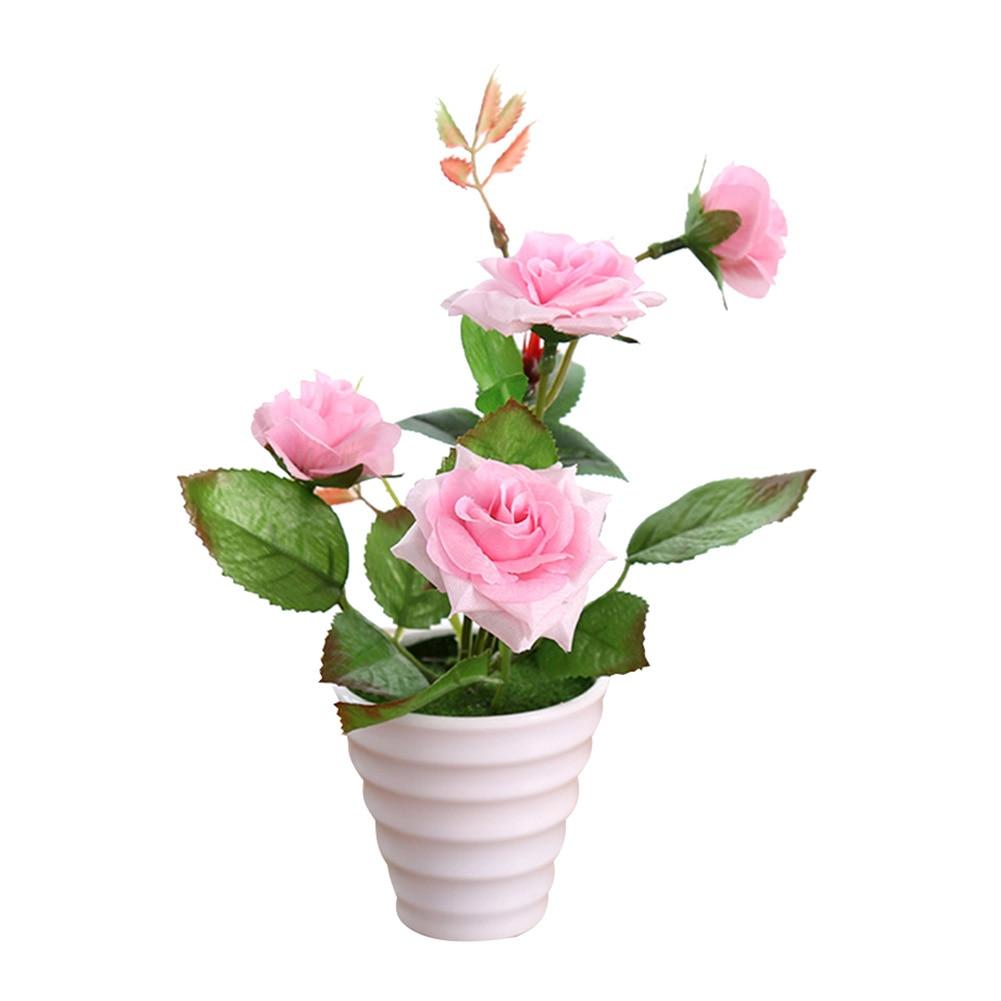 Пластиковые искусственные цветы с розами искусственный бонсаи цветы поддельные цветы вечерние Свадебные украшения Аксессуары для ванной комнаты - Цвет: Розовый