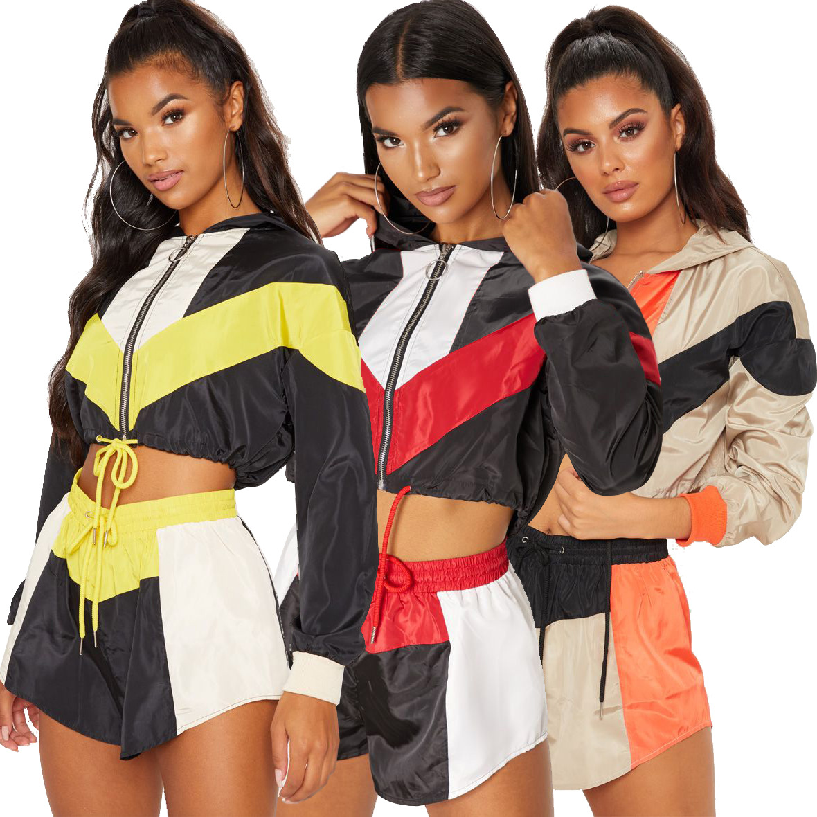 Platform Hot Sales Hot Selling Europe And America WOMEN'S Dress Mixed Colors Casual Loose-Fit Long Sleeve Shorts Sports Set
