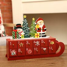 Christmas Ornament Craft Countdown Calendar Advent Home Desktop Drawer Living Room Decorative House Shape Wooden DIY Storage Box