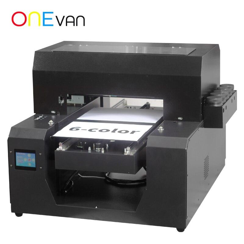 ONEVAN. ClothT-shirt A3 UV imprimante à jet d'encre à plat Epson imprimante Logo personnalisé vêtement DTG Machine d'impression gratuite avec encre/plateau