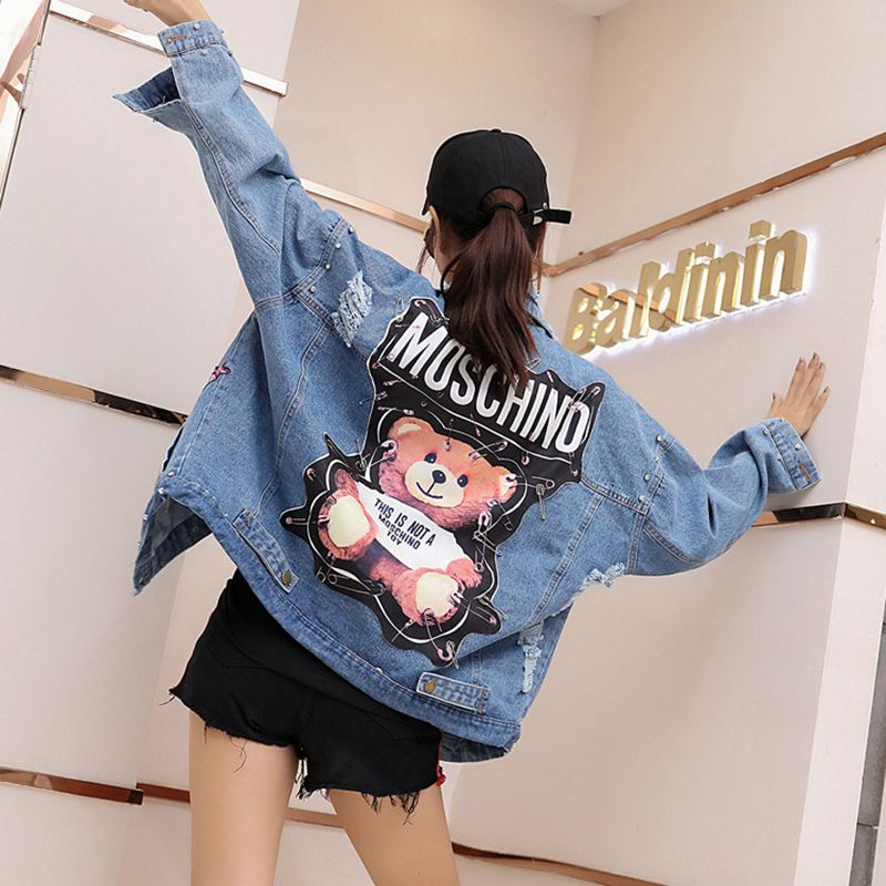 Casaco Hot Sale Regular Hole New Jacket With Sequins Women Punk Beadings Loose Streetwear Jeans Jackets Ladies Plus Size