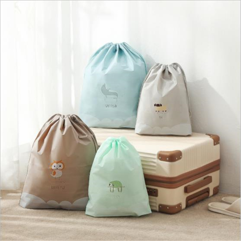 3Pcs PVC Waterproof Drawstring Bag Owl Rabbit Dolphin Cosmetic Bag Travel Toiletry Makeup Case Organizer Clothes Storage Pouch