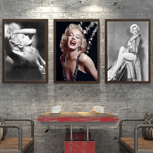 Portrait Poster Black and White Sexy Nude Girl Marilyn Monroe Canvas Painting Wall Pictures for bar,Living Room Decor Cuadros