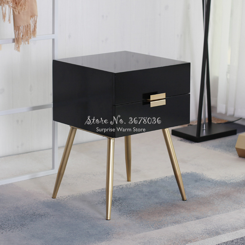 Nordic Europe Nightstands Wooden Side Tables Furniture Bebroom Storage Cabinet Night Table With Metal Foot/Drawers 2 Colors