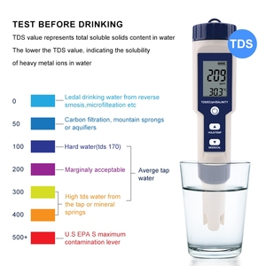Image 4 - 5 in 1 TDS/EC/PH/Salinity/Temperature Meter Digital Water Quality Monitor Tester for Pools, Drinking Water, Aquariums