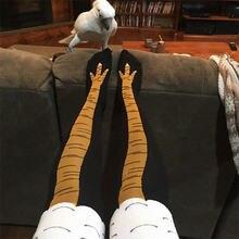 Inverno outono feminino 3d impressão de frango engraçado 3d dos desenhos animados coxa alta meia moda bonito senhoras fino toe pés cosplay
