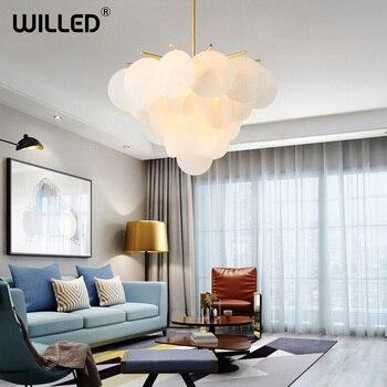 цена Ins Glass Pendant Lamp Light Art Deco Nordic Hotel Restaurant Cafe Dinning Living Room Modern Romantic Lighting White Gold Plate онлайн в 2017 году