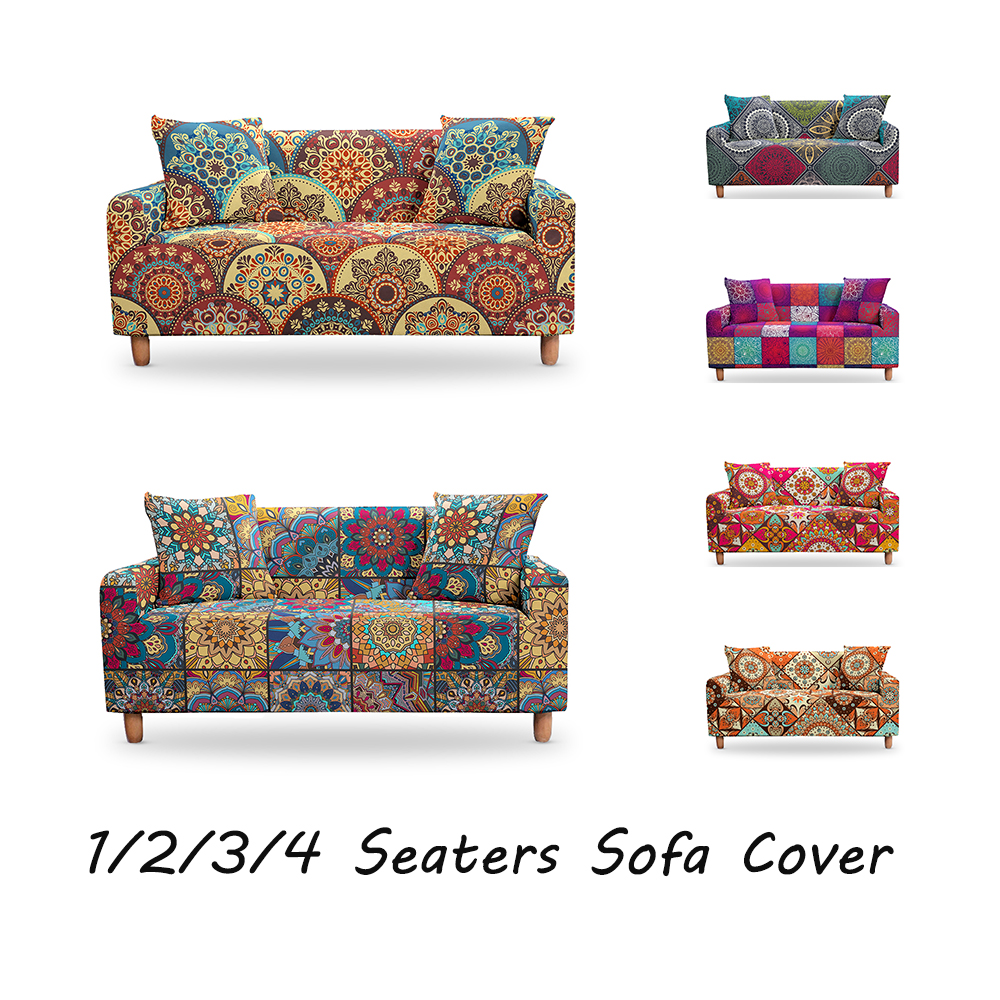 Boho Slipcovers Sectional Elastic Stretch Mandala Sofa Cover For Living Room Couch Cover L shape Armchair Cover 1/2/3/4 Seater 1