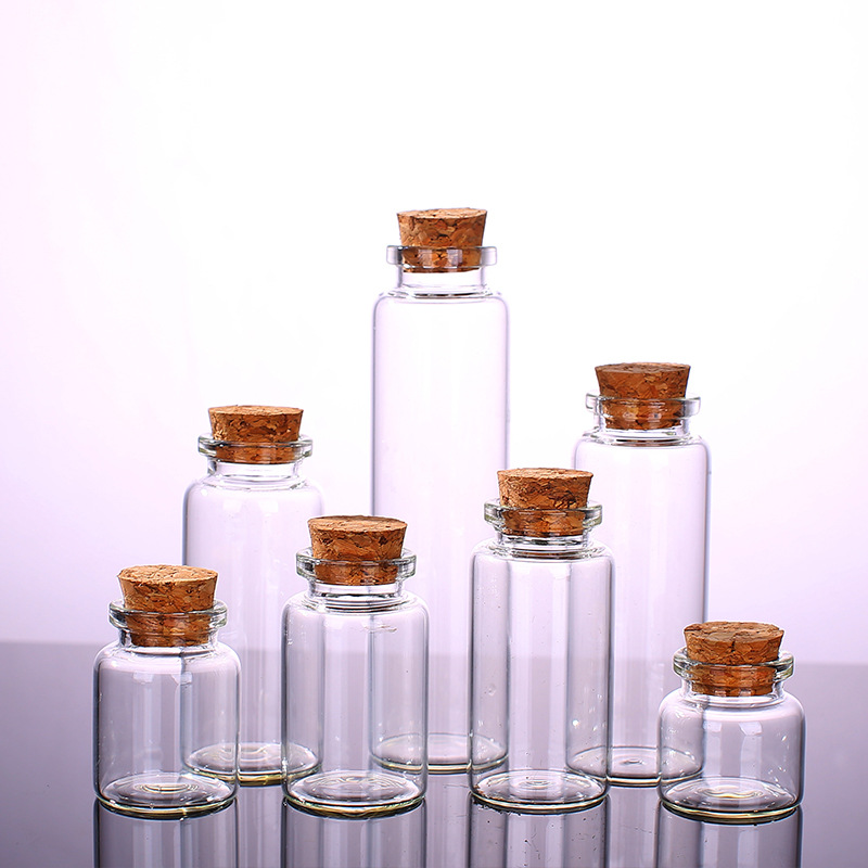 5 Pcs Mini Wishing Bottle Small Empty Transparent Cork Glass Bottle Vial Holiday Wedding Home Decoration Christmas Gift