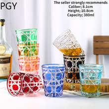 Home new plaid crystal glass glass rattan plaid transparent color starry sky glass whiskey glass cocktail glass creative glass