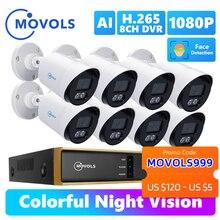 Movols 2MP AI Colorato di Visione Notturna del CCTV Kit H.265 + Impermeabile Sistema di Video Sorveglianza 8CH DVR 8PCS/4PCS di Sicurezza Della Macchina Fotografica Set