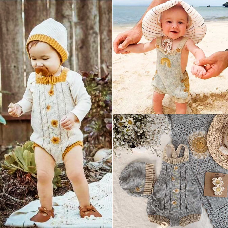 Kids Overalls 2020 W Wawa Brand New Autumn Winter Toddler Knit Flower Sweater Pants Baby Cotton Fashion Jumsuits Clothes 1