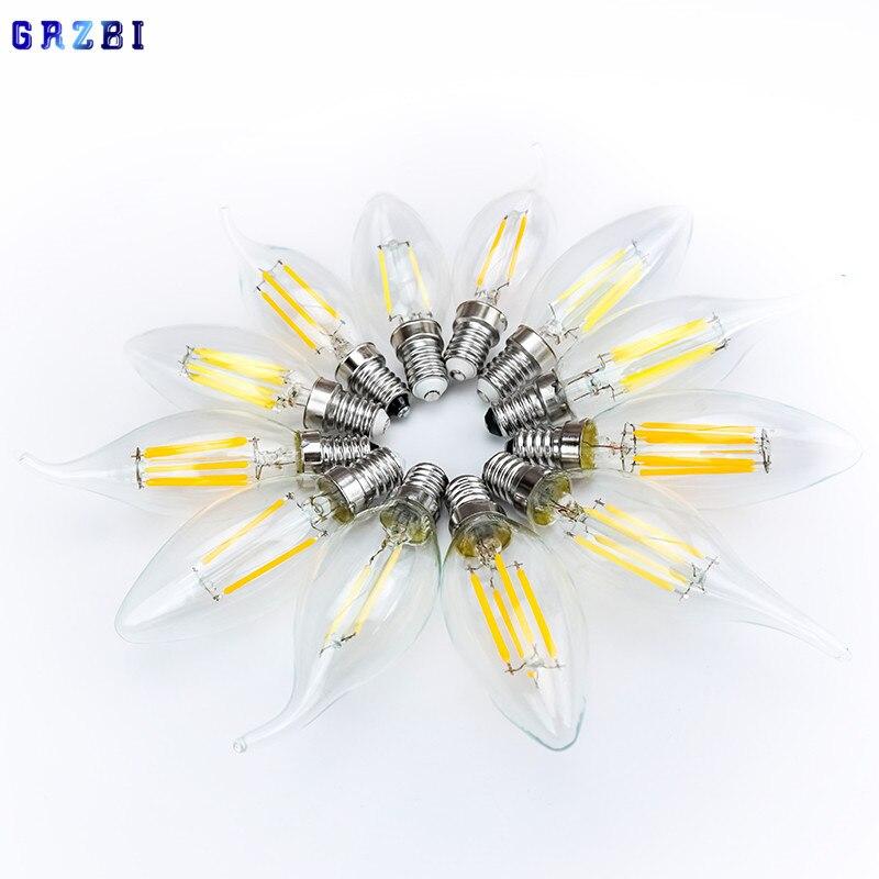 LED Filament Bulb E14 Retro Edison Lamp 220V-240V Light Bulb C35 C35L Glass Bulb Vintage Candle Light