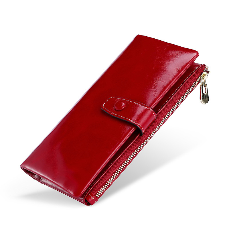 10 teile/los Mode Multifunktionale Geldbörse Aus Echtem Leder Brieftasche Frauen Lange Stil Rindsleder Handtasche Tasche