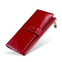10PCS / LOT Fashion Multifunctional Purse Genuine Leather Wallet Women Long Style Cowhide Purse Bag