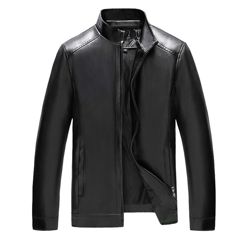 Hommes vestes en cuir printemps et automne régulier Slim hommes manteau Stand PU cuir Jaket hommes grande taille affaires décontracté noir veste