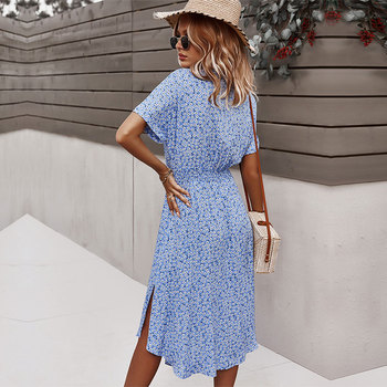 2021 Spring New Bandage Dress Women Casual Short Sleeve Button Print Dress For Woman Summer Holiday Style Dress 2