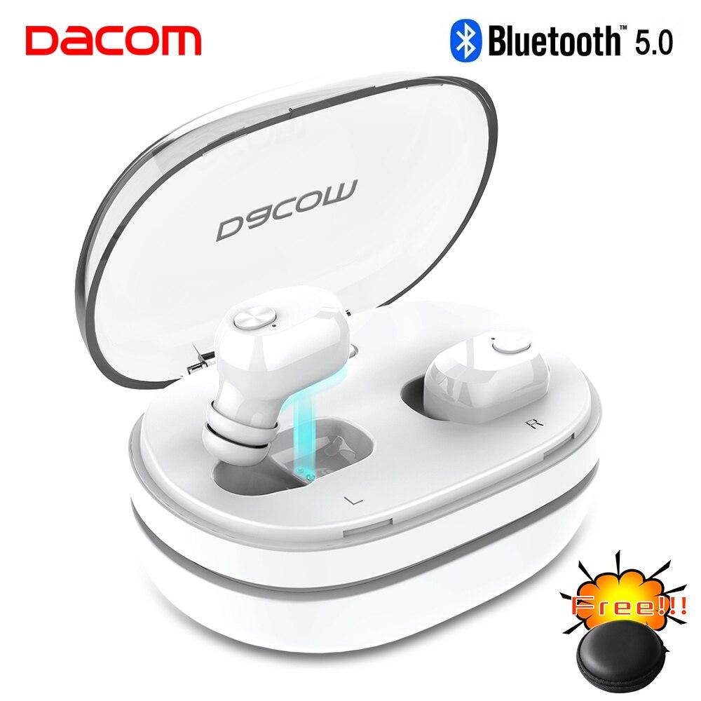 DACOM 2019 K6H Pro no Verdadeiro TWS Gêmeos Bluetooth 5.0 Fones De Ouvido fones de Ouvido fones de Ouvido Mini fone de Ouvido Sem Fio com Dual Micr PK i7s i9s