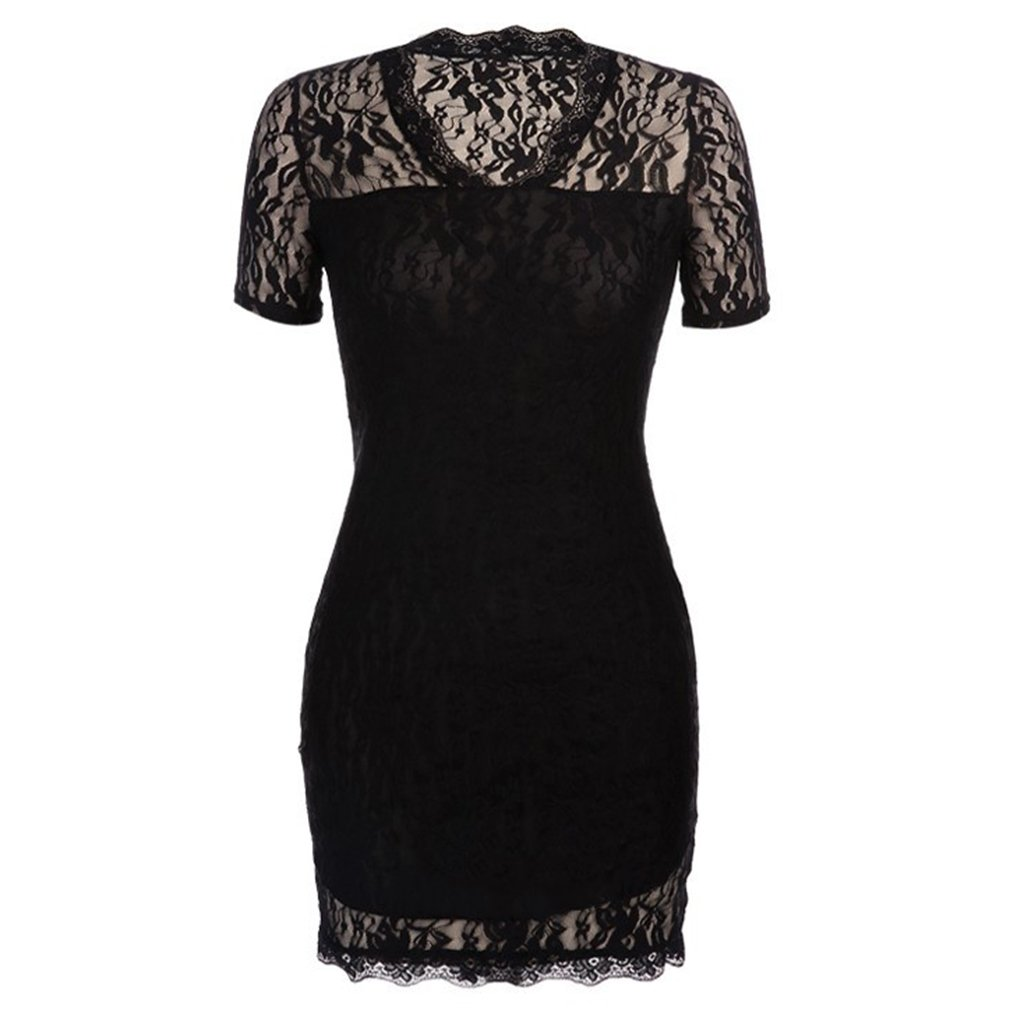 Black Deep V-neck Sexy Women Mesh Dress Lace Floral Ladies Sexy Evening Party Package Hip Dress Sexy Pencil Dress 2019 Women 2