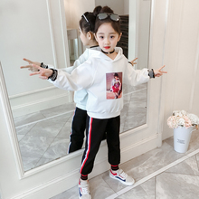 Girls Street Dance Clothing Kids white Red Hoodie Top With Long Sleeves Pant 2pcs Teenage Clothes Set For casual set