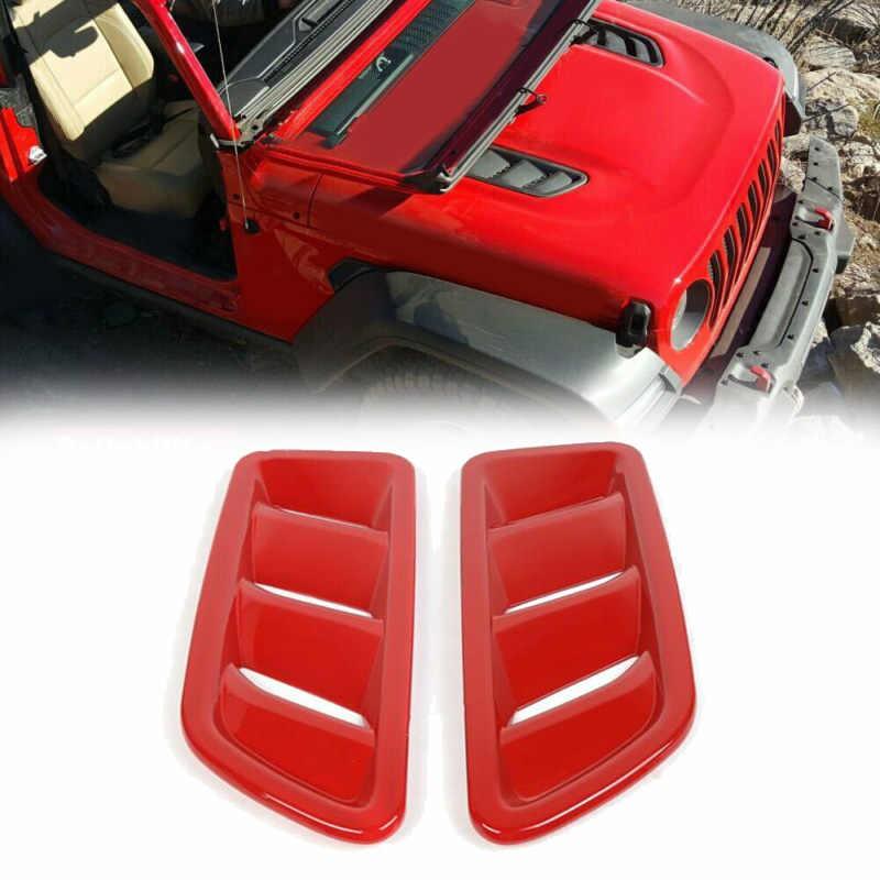 2 шт. автомобиль капот двигатель вентиляционное отверстие выход крышка отделка для Jeep Wrangler JL 2018-2019 ABS Красный Авто Крышка для воздуховода отделка