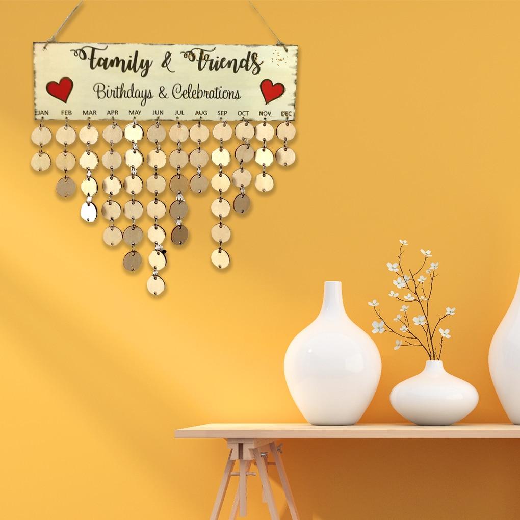 Family Friends Words Hanging DIY Wooden Calendar Kalendar Reminder Board Plaque Home Decor Pendant Colorful