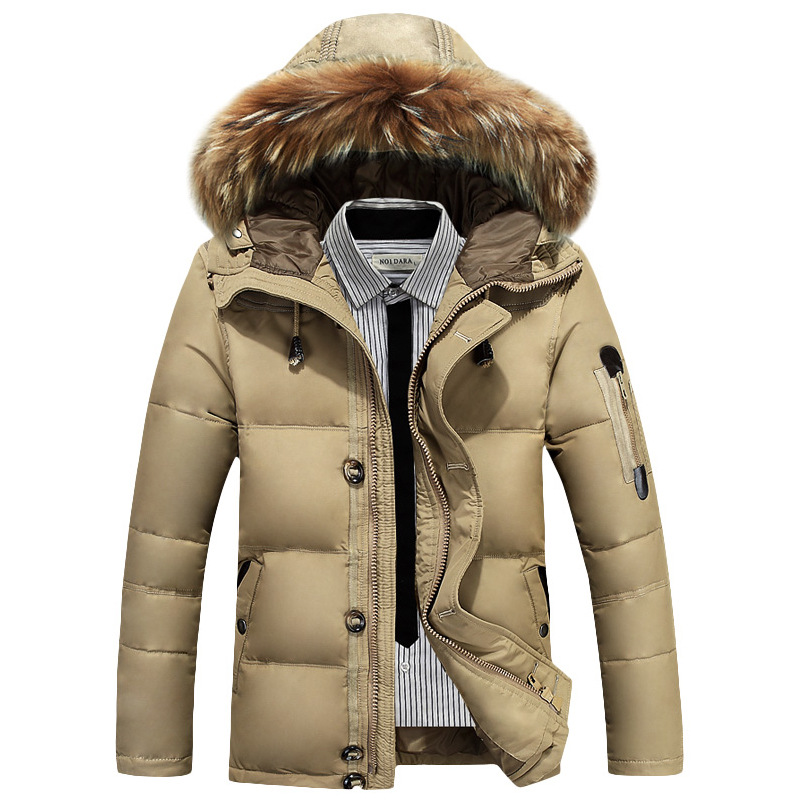 New Winter Men Fur Collar Down Jacket White Duck Down Thick Warm Hooded Casual Coat High Quality Windproof Solid Color Outerwear