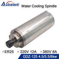 Water Cooling Spindle GDZ 125 4.5KW 5.5KW 6KW ER25 380v 8A 220v 12A 24000rpm CNC Router Spindle Motor for CNC Router Machines
