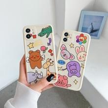 חמוד בעלי החיים גן חיות דוב ג ירפה טלפון מקרה עבור iphone 11 12 פרו מקסימום כיסוי 6 6s 7 8 בתוספת XR X XS עבור iphone 12promax fundas coque