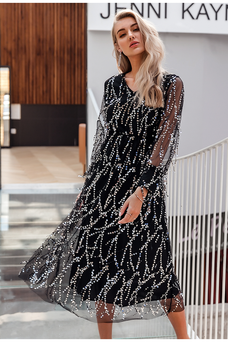 Black V-Neck Long Sleeve Sequin Dress 6